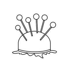 Monochrome contour pincushion with pins icon vector