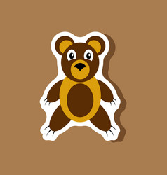 paper sticker on stylish background toy bear vector image vector image