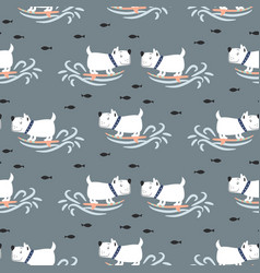 Pattern with cute surf puppies blue sea background vector
