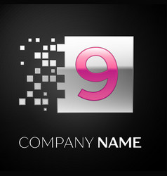 pink number nine logo symbol in the silver square vector image