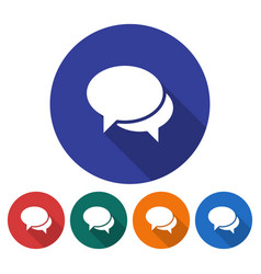 Round icon of two blank speech bubbles dialogue vector