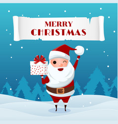 santa claus holding gift box in snowy scene vector image