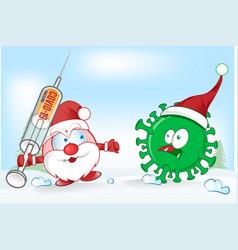 santa claus mascot fight against corona virus vector image