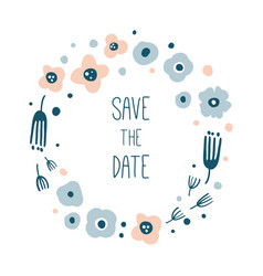 save the date round floral wreath vector image