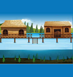 scene with two houses in the river vector image