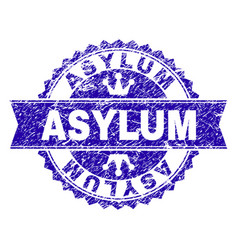 Scratched textured asylum stamp seal with ribbon vector