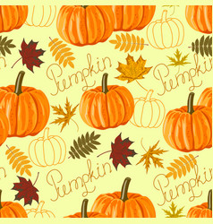 Seamless pattern with autumn leaves and pumpkins vector