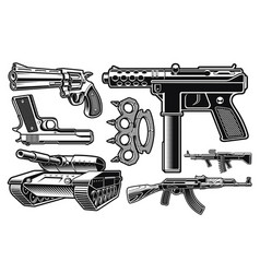 Set black and white different weapon vector