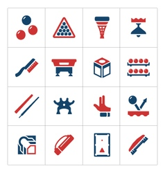 Set color icons of billiards snooker and pool vector