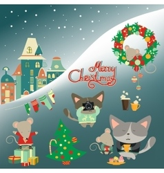Set of cute cat with little mouse vector image