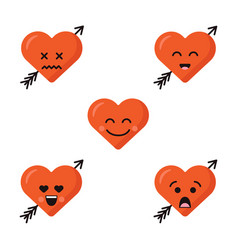 Set of different flat cute emoji heart faces with vector