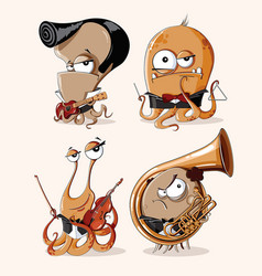 Set of funny retro monsters musicians vector