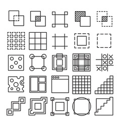 set of Square and Rectangle experimental icons vector image