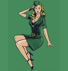 sexy military pinup girl in vintage drawing style vector image