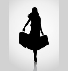 Silhouette of a woman figure carrying shopping vector