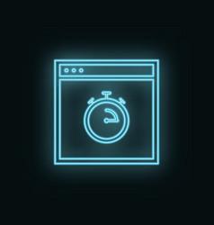 Site time stopwatch neon icon web development vector