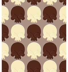 Skull white and dark chocolate seamless pattern vector image