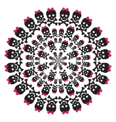 skull with a pink bow on white background circular vector image