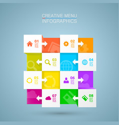Square menu icons for infographic vector