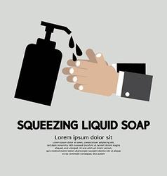 Squeezing liquid soap vector