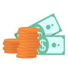 Stack gold coins money cash dollars vector