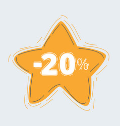 star sticker badge with 20 off label vector image