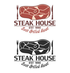steak house logo with meat knife and fork vector image