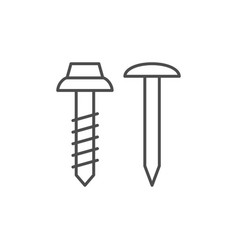 Steel fasteners line outline icon vector