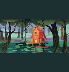 Stilt house at forest swamp with wooden boat vector