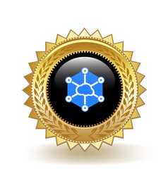 Storj cryptocurrency coin gold badge vector