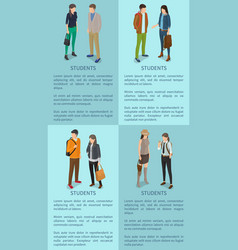 Students set posters with adult men and women vector