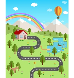 Summer landscape with mountains forest rainbow air vector image