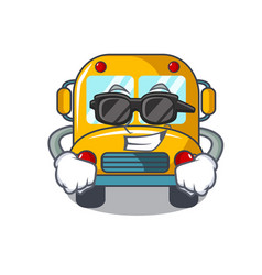 super cool school bus character cartoon vector image