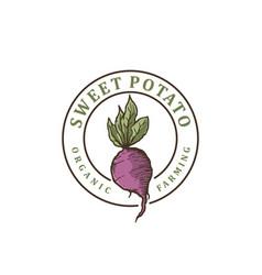 Sweet potato vintage logo design vector