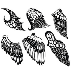 tattoo wings set vector image