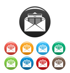 tax mail icons set color vector image
