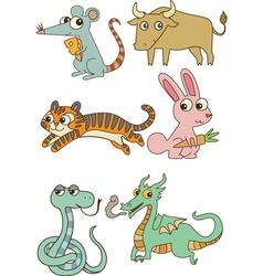 The twelve chinese zodiac cutie cartoon vector image