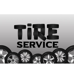 Tire service with wheel seamless border Shining vector image