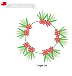 Tonga lei or tongan heilala flowers garland vector