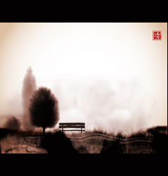Traditional japanese ink painting sumi-e vector