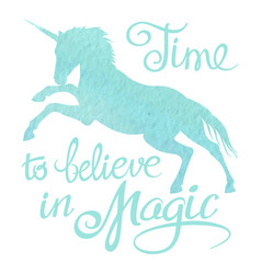 Turquoise watercolor unicorn silhouette and vector