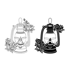 two lamps with roses vector image