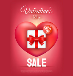 valentines day sale text with gift box and red vector image