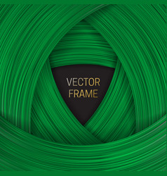 Volumetric frame on shades green background vector