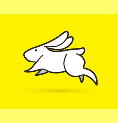 white rabbit jumping graphic vector image