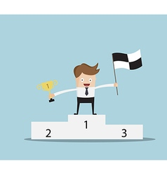 winner businessman standing on winning numbe vector image