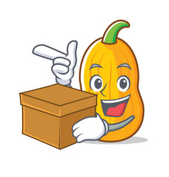 With box butternut squash character cartoon vector
