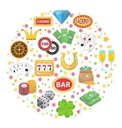 Casino icons in round shape flat style Gambling vector image