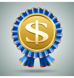 Dollar sign in a blue ribbon rosette vector image vector image