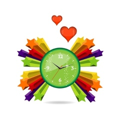 green eco and love clock sign vector image vector image